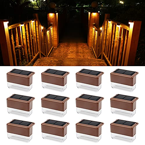 Solar Deck Lights, NIORSUN 12-Pack LED Solar Step Lights Outdoor Waterproof IP65 Warm White/Colors Changing Mode for Stair Steps, Fence, Porch Railing, Patio Garden(12 Pack)