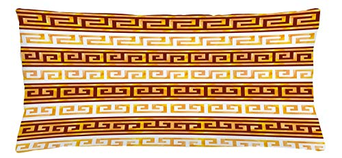 ABAKUHAUS Retro Throw Pillow Cushion Cover, Greek Cultural Tribal Geometric Meanders Ornaments Design, Decorative Square Accent Pillow Case, 36 X 16 Inches, Redwood Apricot