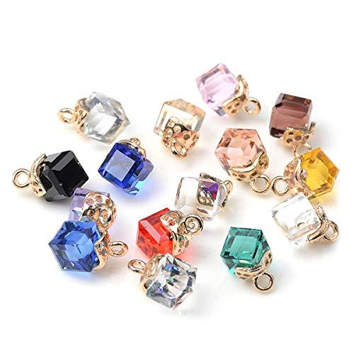 SUPVOX Pendenti di cristallo cubici pendenti per gioielli fai-da-te creazione di accessori per orecchini collana 20 pz