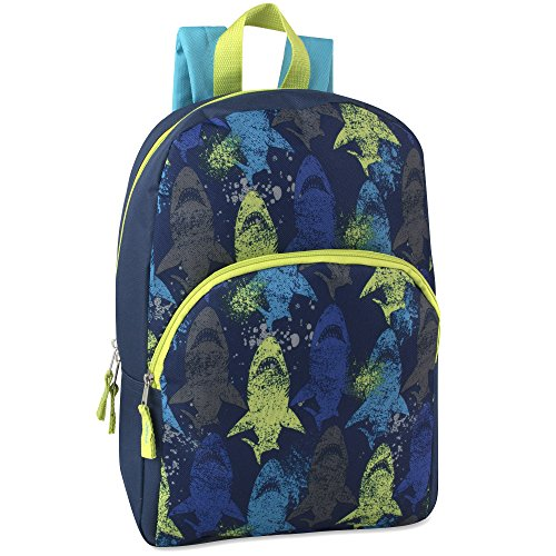 Character Backpacks For School, Summer Camp, Travel and Outdoors With Adjustable, Padded Back Straps (Sharks, 15')