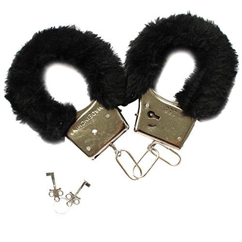 FEESHOW Menottes en Fourrure douce avec Serrures Novelty Jouet érotique de Adulte pour la Saint-Valentin Noir Noir Taille unique