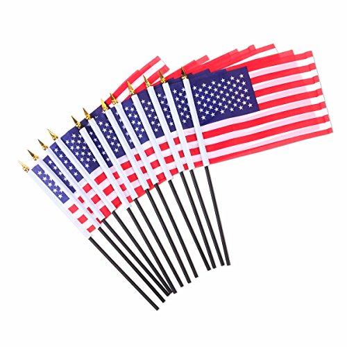 LUOEM American Hand Flags USA Stick Flags 12pcs