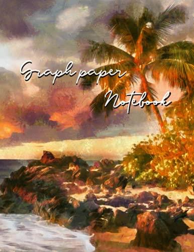 Cuadernos de papel gráfico: paisaje de puesta de sol de playa tropical pintado en estilo impresionistas franceses Cubierta: Cuaderno de composición   Cuadrados de cuadrícula de rayas