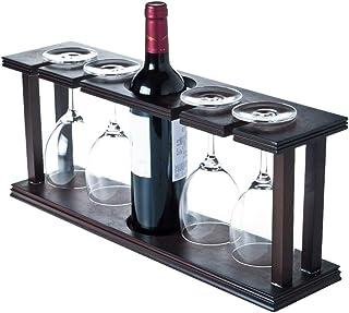 SHGK Estante Madera Vino Una Botella Y 4 Gabinetes con Soporte Vidrio Almacenamiento Exhibición Madera Natural para Encime...