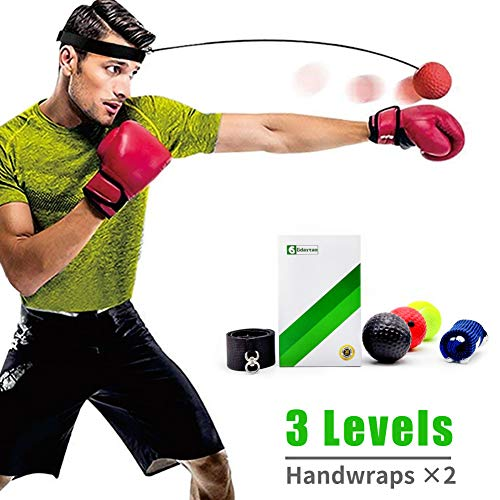 Gdaytao Boxing Reflex Ball 3 Levels Activpulse Reflex Ball with Adjustable Headband Boxing Trainer for Hand Eye Coordination Punching Ball for Reactions Great Boxing Equipment for Kids/Adults