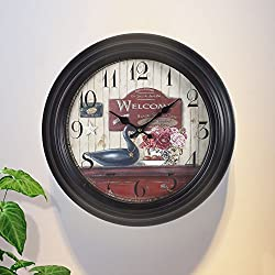 Adeco 14~15 Large Retro Wall Hanging Clock - Antique-Look Dial -Decorative Round Iron Clock, Arabic Numbers, Silent Battery Quartz, Home Office Decor