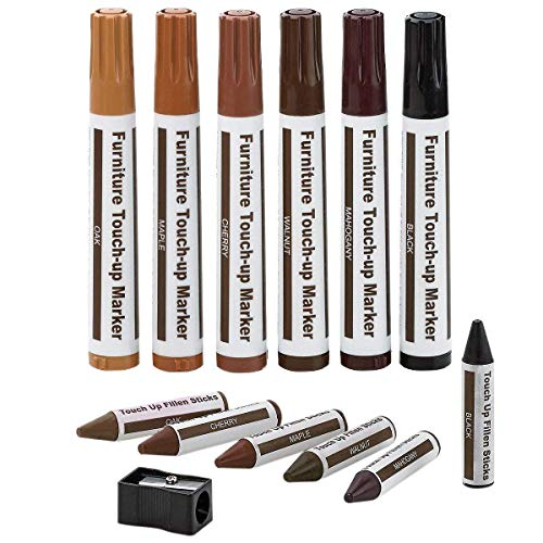Furniture repair wooden markers, repair kit for furniture, repair kits for furniture scratching, set of 13 markers and wax sticks with sharpener for stains, scratches, wooden floors, tables, bedposts.