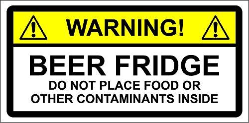 WAARSCHUWING STICKER Bier FRIDGE niet plaatsen voedsel of andere CONTAMINATES. 150mm x 100mm