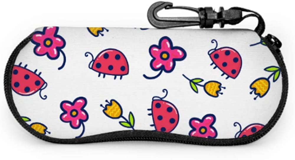 Ladybug Incest And Flowers Kids Sunglass Case Soft Eyeglasses Case Light Portable Neoprene Zipper Soft Case Girls Sunglasses Case