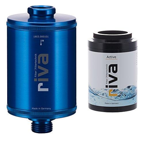 riva Filter   Duschfilter-Set STANDARD   WASSERFILTER – schützt Haut und Haare vor Chlor und Schadstoffen   Reduziert Kalk-Belag   Einfache Montage   Blau