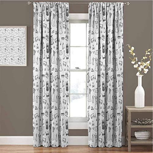 Toopeek Heels and Dresses Premium Blackout Curtains Female Fashion Themed Pattern Sketch Cartoon Style Doodle Garments Kindergarten Noise Reduction Curtains W84 x L108 Inch Black and White
