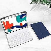 7色バックライト付きHuawei MatePad Pro 10.8 脱着式キーボードケース ペンシルホルダー付きMatePad Pro 10.8インチ 分離式Bluetoothキーボード 全面保護カバー (MatePad Pro 10.8, ブルー+白キーボード)