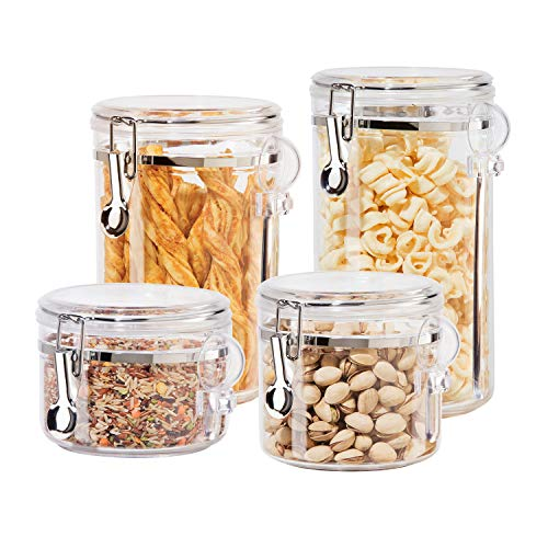 Oggi 4pc Clear Canister Set with Clamp Lids & Spoons Airtight Containers in Sizes Ideal for Kitchen Pantry Storage of Bulk Dry Foods Including Flour Sugar Coffee Rice Tea Spices Herbs