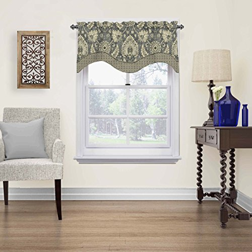 """WAVERLY Valances for Windows - Clifton Hall 52"""" x 18"""" Short Curtain Valance Small Window Curtains Bathroom, Living Room and Kitchens, Flax"""