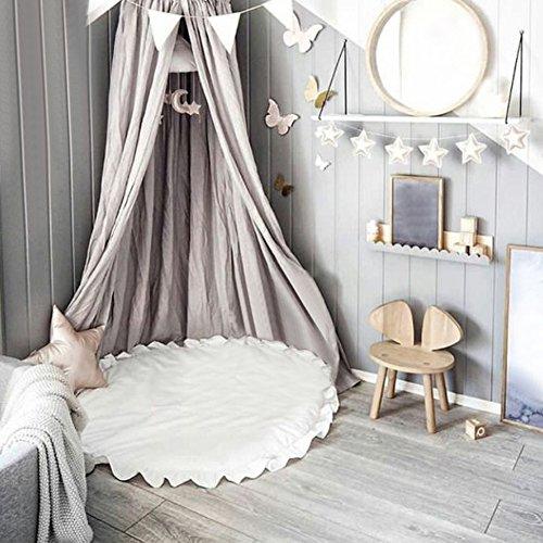 Pueri Kinder Baby Spielmatte Runde Teppich Kriechmatte Spielzelte Dekoration fürs Kinderzimmer (Weiß)