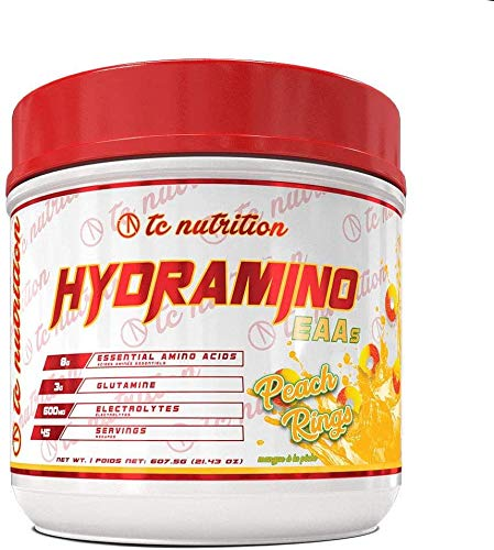 Hydramino Essential Amino Acids (45 Servings) - BCAAs/EAAs Supplement Powder - with Glutamine and Electrolytes for Max Recovery, Energy and Hydration Fuel (Peach Rings)