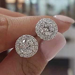 2019 Real 925 Sterling Silver Zircon circle Stud Earrings Brincos for women Boucle D'oreille Femme Bijoux gift jewelry E232