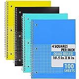 Emarw - Cuadernos en espiral de papel blanco de doble raya, 100 hojas, varios colores, resistentes al agua, protege tus notas con 3 agujeros perforados para carpeta de anillas