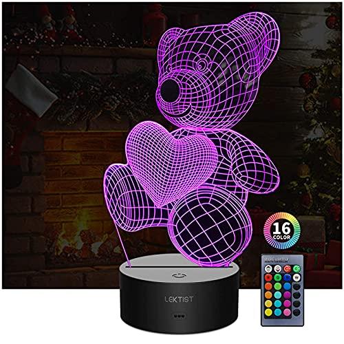 Lektist - Lampada da comodino a forma di orso 3D, con 16 colori che cambiano Smart Touch o telecomando per bambini e adulti, perfetta idea regalo di Natale