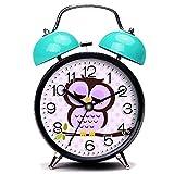 GIRLSIGHT3 Blue Alarm Clock, Cute Cute Purple Owl Loud Alarm Clock Twin Bell Alarm Clocks with Nightlight