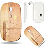 Liili Wireless Mouse White Base Travel 2.4G Wireless Mice with USB Receiver, Click with 1000 DPI for notebook, pc, laptop, computer, mac book Sailing boat on a background of a beautiful sunset in retr