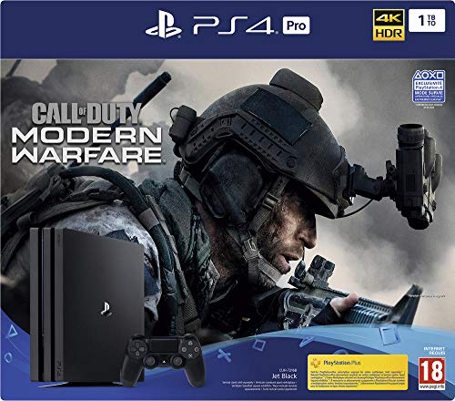 Sony PlayStation 4 Pro 1 To + Call Of Duty Modern Warfare, Avec 1 manette sans fil DUALSHOCK 4 V2, Châssis G, Noir (Jet Black)