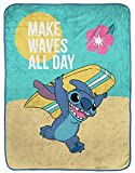 Jay Franco Disney Lilo & Stitch Make Waves All Day Raschel Throw Blanket - Measures 43.5 x 55 inches, Kids Bedding - Fade Resistant Super Soft (Official Disney Product)