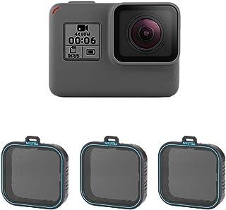 TELESIN - Juego de filtros de densidad neutra ND, ND4 ND8 ND16, Paquete filtro lentes 3 unidades, para GoPro Hero 2018, Hero 5, Hero 6 (ND4/8/16).