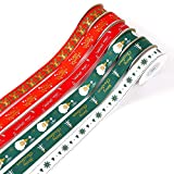 60 Yards Christmas Grosgrain Ribbon,Christmas Ribbon Wired with Deer, Santa Claus and Snowflake Pattern for Gift Wrapping and Christmas Tree Decoration