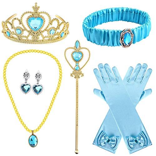 Tacobear 8 Piezas Princesa Disfraz Jasmine Niña con Corona Princesa Tiara Varita Mágica Diadema Guantes Pendientes Collar Accesorios Princesa Set Regalos Fiesta Cumpleaños para Niñas