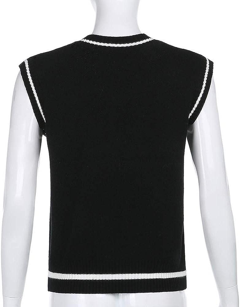 Women Knitted Sweater Vest Argyle Preppy Style Loose Knitwear Sleeveless V Neck Skull Print E-Girl Tank Top Y2K Streetwear