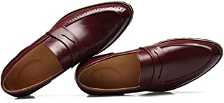Pu Leather Men Business Shoes Light, Soft, Tough, (Color : Red, Size : 40)