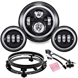 """Z-OFFROAD 7"""" Black Halo LED Headlight + 4-1/2"""" Fog Passing Lights with DRL Motorcycle Headlamp Kit Set Compatible With Harley Davidson Electra Glide Road King Heritage Softail"""