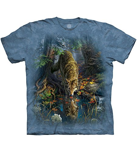 The Mountain Enchanted Wolf Pool Adult T-Shirt, Blue, XL