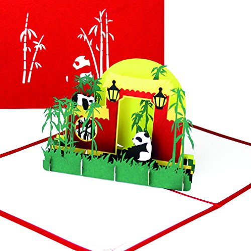 """Grußkarte Panda - """"Panda-Bären & Bambus"""" - 3D Pop Up Karte mit Pandas als Geburtstagskarte, Einladung, Einladungskarte Berliner Zoo, China Souvenir, Geschenk & Geschenkgutschein"""