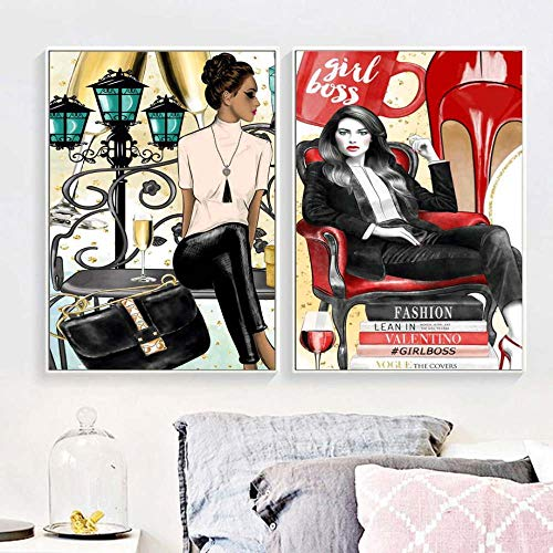 zszy Modeboek Meisjes Boss Parfum Muurkunst Canvas Schilderij High Heels Afrika Model Poster Muurschilderingen voor woonkamer Salon 50x70cmx2 stuks geen lijst