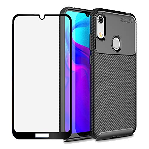 BestShare for Huawei Honor Play 8A / Huawei Honor 8A Case, Slim fit Flexible Soft Gel TPU Case Anti-Slip Anti-Scratch Shockproof Cover + Tempered Glass Screen Protector,Black