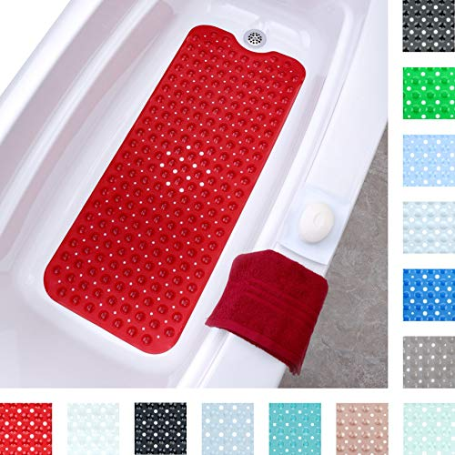 """SlipX Solutions Red Extra Long Bath Mat Adds Non-Slip Traction to Tubs & Showers - 30% Longer Than Standard Mats! (200 Suction Cups, 39"""" Long Bathtub Mat)"""