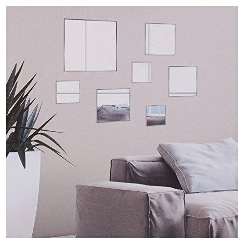 Set de 7 espejos decorativos para la pared del baño o la habitación, cuadrado