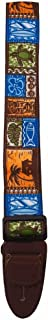 Master Strap Guitar Strap - Tiki Hawaiian - Brown Leather Ends with Built In Pick Pocket