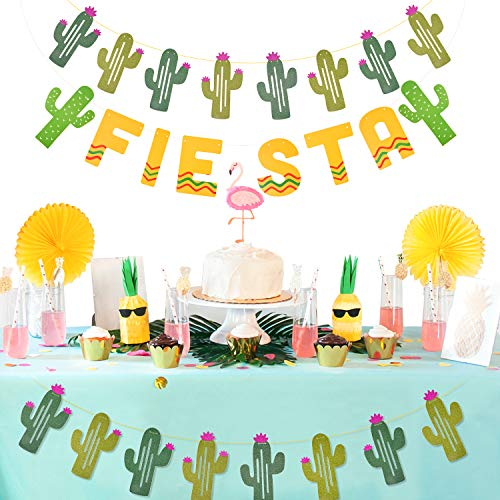 TUPARKA 3PCS Fiesta Banners Decorations, Mexican Theme Party Garland for Summer Cactus Wedding Birthday Party Supplies
