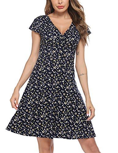Beyove Blümchenkleid Damen Sommer Knielang Damenkleider A Linie Wickelkleid Kurzarm Elegant Jersey Kleider Floral V Ausschnitt Sexy 36 S