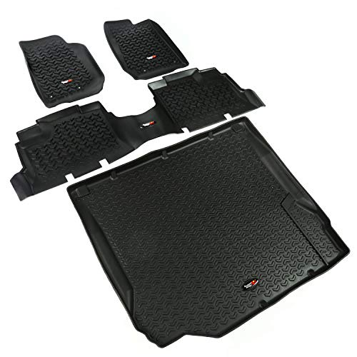 Rugged Ridge 12988.01, All Terrain Floor Liner Kit, Front/Rear/Cargo, Black, 2007-2010 Jeep Wrangler JK 4 Dr