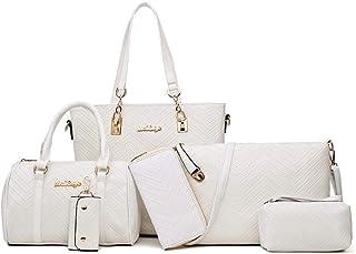 Ladies Bag Shopping Shoulder Bag set of 6 PLeather Business Work Travel (Color : White, Size : L)