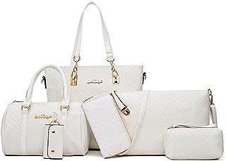 Ladies Bag Shopping Shoulder Bag Set of 6 Satchels Top Handle Shoulder Crossbody Bags (Color : White, Size : L)