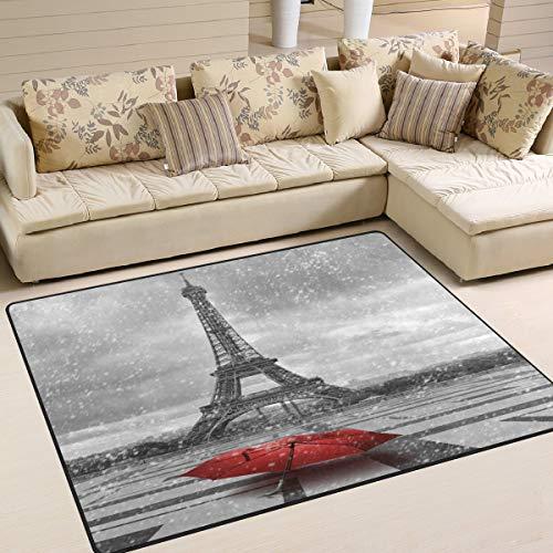Grande tappeto da pavimento 182,9 x 121,9 cm, Torre Eiffel Parigi Ombrello rosso Cityscape Area tappeto antiscivolo per soggiorno camera da letto