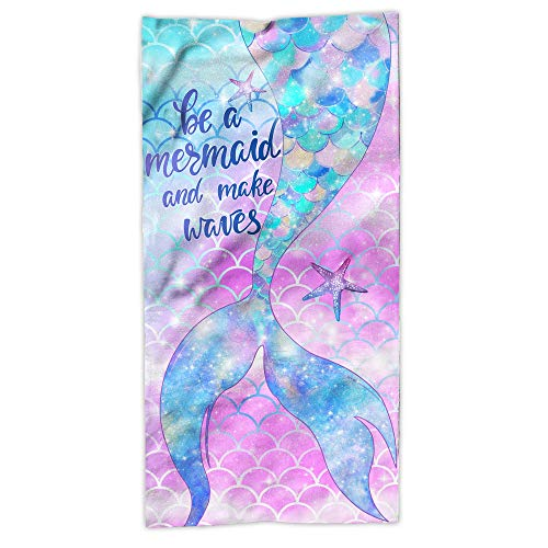 Hexagram Mermaid Beach Towel,Fantasy Mermadi Tail Microfiber Large Bath Towels for Girls, Quick Dry Kids Meraid Pool Towels Oversized 31' x 63' Blanket for Travel