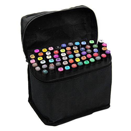 Beetest Rotuladores,Prismacolor<60 PCS >Pintura Arte gráfico Twin Nib Alcohol A Base de Tinta Pen Marker Point Pen Set con Bolsa de Almacenamiento Negro