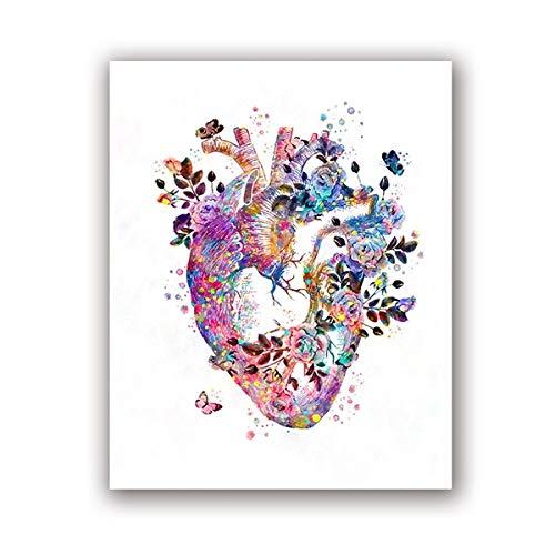 Herz Anatomie Vintage Poster Drucke Medizin Student Geschenk Organe Kunst Leinwand Malerei Ärzte Büro Wanddekoration 15x21CM