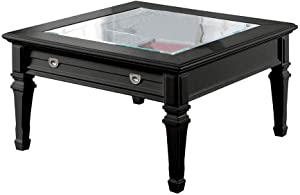 Benzara Traditional Style Square Wood and Glass Coffee Table with 1 Drawer, Black
